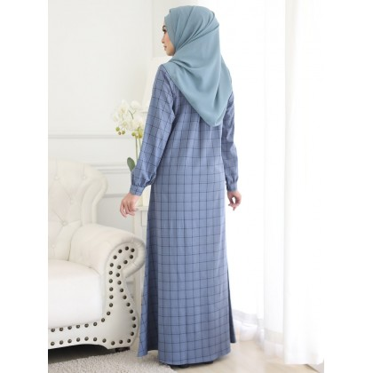 Jubah Checkered 2 - Dusty Blue